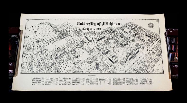Vintage Map of University of Michigan Campus with: Collage Illustration of Ann Arbor. P....