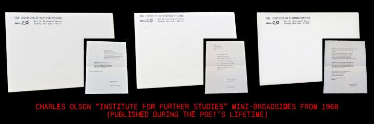 "Three Original Sheets in Envelopes from ""The Institute of Further Studies"" Charles Olson"