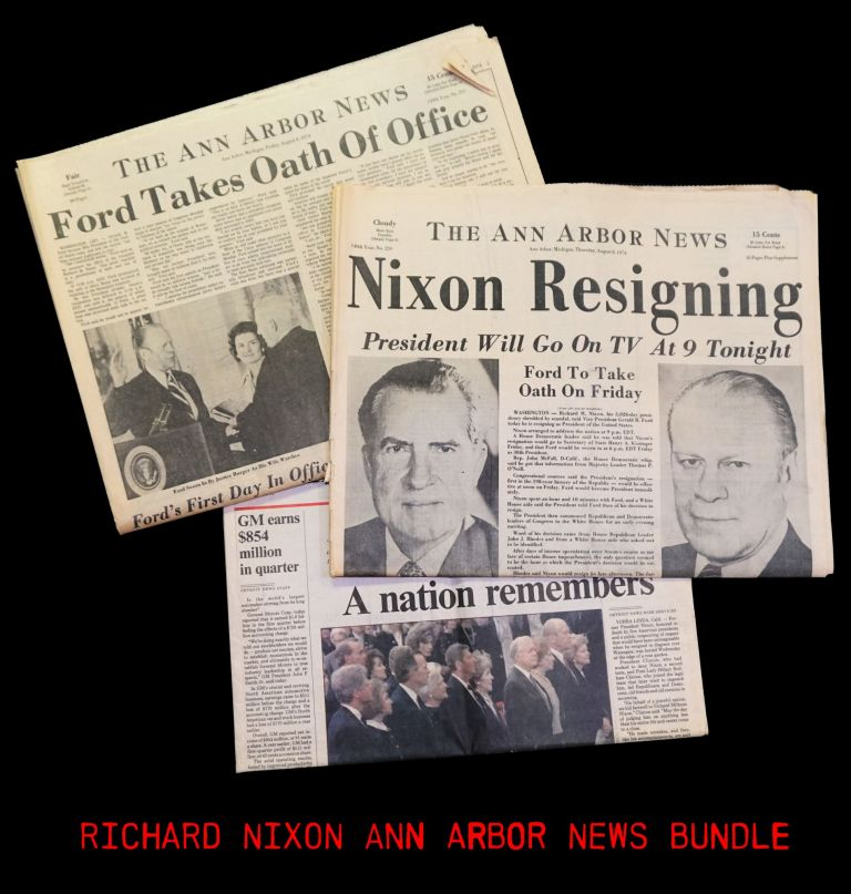 The Ann Arbor News August 8 & 9 1974 Issues with: The Detroit News April 28 1994 Issue. Richard M. Nixon.