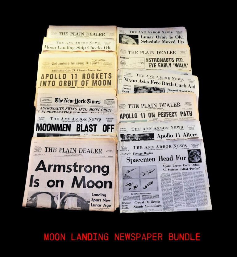 Apollo 11 Moon Voyage Newspaper Collection. Edwin Aldrin, Neil Armstrong, Michael Collins.