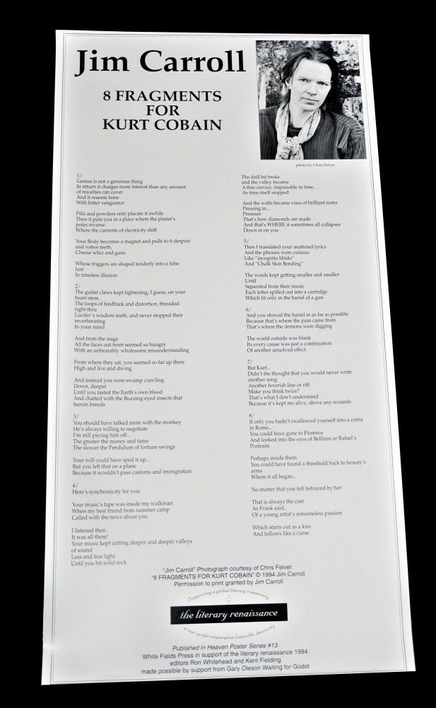 "Broadside: ""8 Fragments for Kurt Cobain"" Jim Carroll."