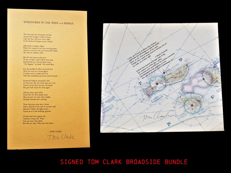 """Two Broadsides: """"Somewhere in the West- A Riddle"""" with: Untitled (""""I drift, out of reach...""""). Tom Clark."""