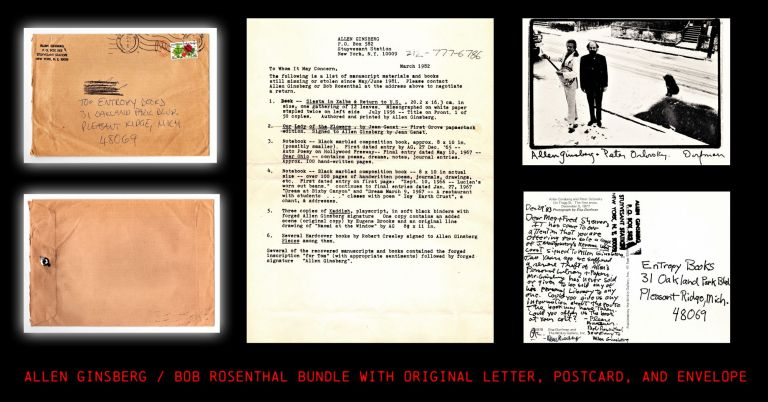 Hand-Written Postcard with: Copied Letter-List with: Original Mailing Envelope. Allen Ginsberg,...