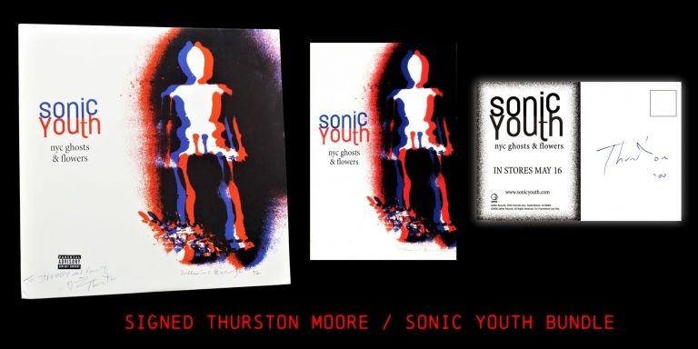 "Sonic Youth ""Ghosts & Flowers"" LP Record with: Postcard. William S. Burroughs, Thurston Moore"