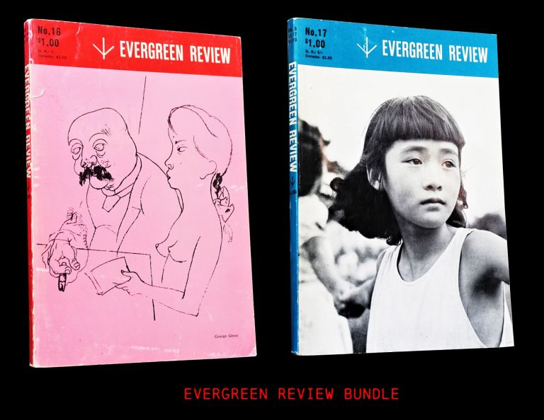 Evergreen Review Vol. 5 No. 16 (January - February 1961) with: Vol. 5 No. 17 (March - April 1961). Barney Rosset, Samuel Beckett, William S. Burroughs, Gregory Corso, Robert Duncan, Duke Ellington, George Grosz, Henry Miller, Robert Pinget, C. P. Snow, Lew Welch, Martin Williams, William Carlos Williams.