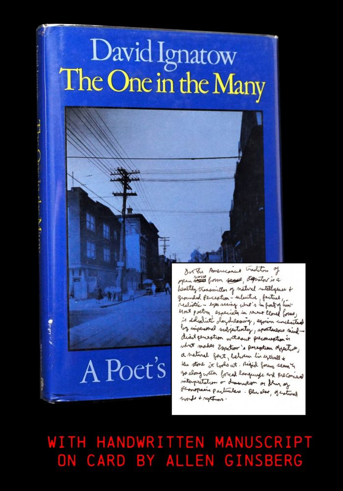 The One in the many: A Poet's Memoirs with: Handwritten Manuscript by Allen Ginsberg. Allen Ginsberg, David Ignatow.