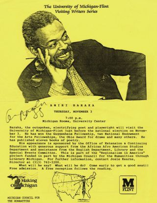 Announcement of an Appearance by Amiri Baraka (two copies)