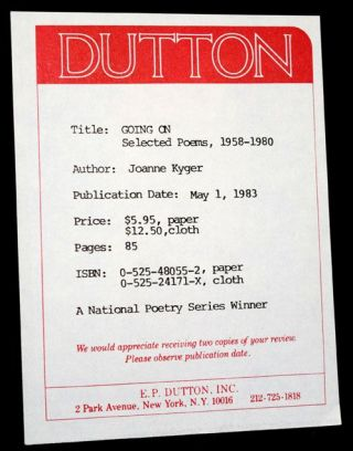 Going On: Selected Poems 1958-1980