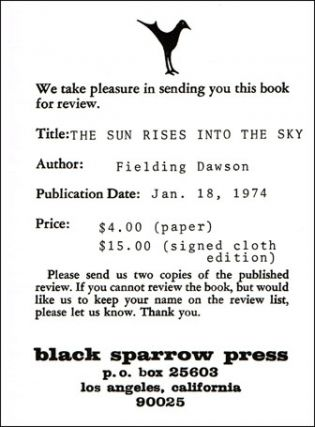 The Sun Rises Into The Sky And Other Stories: 1952-1966 w/Black Sparrow Press Review Slip