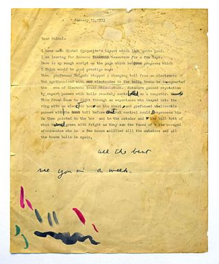 "Original Typed Letter with Hand-Corrections & Inscription by William S. Burroughs with: Two-Panel Original Artwork by Malcolm McNeill Depicting & Incorporating text of WSB Letter with: Book, ""The Someday Funnies"" Edited by Michel Choquette"