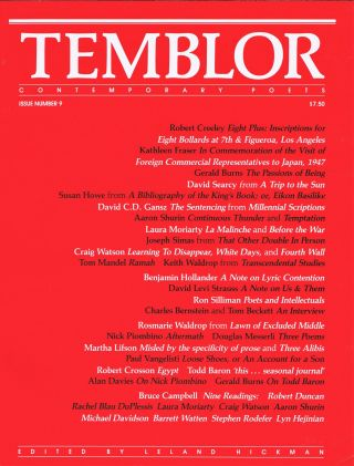 TEMBLOR: Contemporary Poets, Issue Numbers 8, 9 & 10