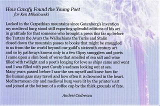 """Postcard-Broadside with John Sinclair Poem """"eronel"""" with: MMM Report Magazine with Sinclair Cover Article with: Postcard with Andrei Codrescu Poem """"How Cavafy Found the Young Poet"""""""
