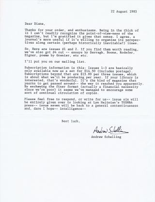"Jimmy & Lucy's House of ""K"" No. 3 (January 1985) with: Signed Letter from Editor Andrew Schelling to Poet Diane Wakoski"