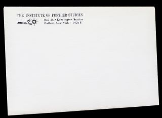 "Three Original Sheets in Envelopes from ""The Institute of Further Studies"""