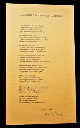 """Two Broadsides: """"Somewhere in the West- A Riddle"""" with: Untitled (""""I drift, out of reach..."""")"""