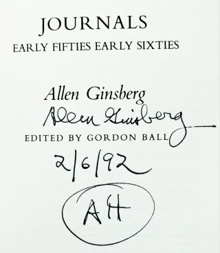 Allen Ginsberg Journals Early Fifties- Early Sixties with: Allen Verbatim: Lectures on Poetry, Politics, Consciousness