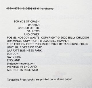 100 Yds of Crash Barrier, Cancer of the Gallows and Other Poems Nobody Wants (Rogue Edition)