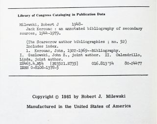 Jack Kerouac: An Annotated Bibliography Of Secondary Sources, 1944-1979